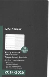 Moleskine Black Weekly Notebook Diary / Planner 2015-2016