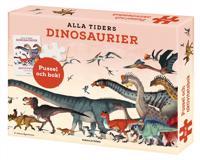 Alla tiders dinosaurier: aktivitetsbok plansch och pussel 150 bitar