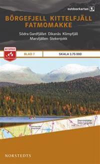 Outdoorkartan Börgefjell Kittelfjäll Fatmomakke : Blad 7 skala 1:75000