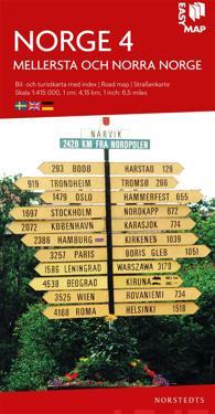 Mellersta och norra Norge EasyMap : Skala 1:415.000